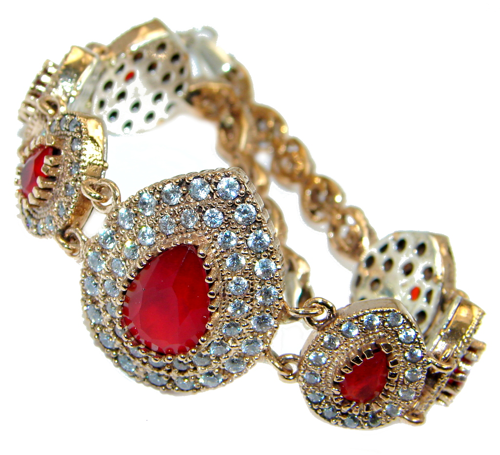 Great created Ruby Gold Rhodium plated over over Sterling Silver Bracelet
