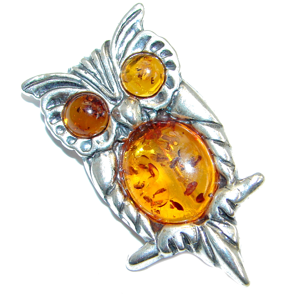 One of the Kind natural Baltic Amber Sterling Silver handmade Pendant - Pin