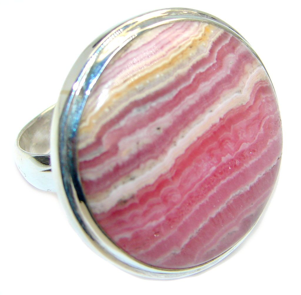 AAA quality Pink Rhodochrosite Sterling Silver Ring size adjustable