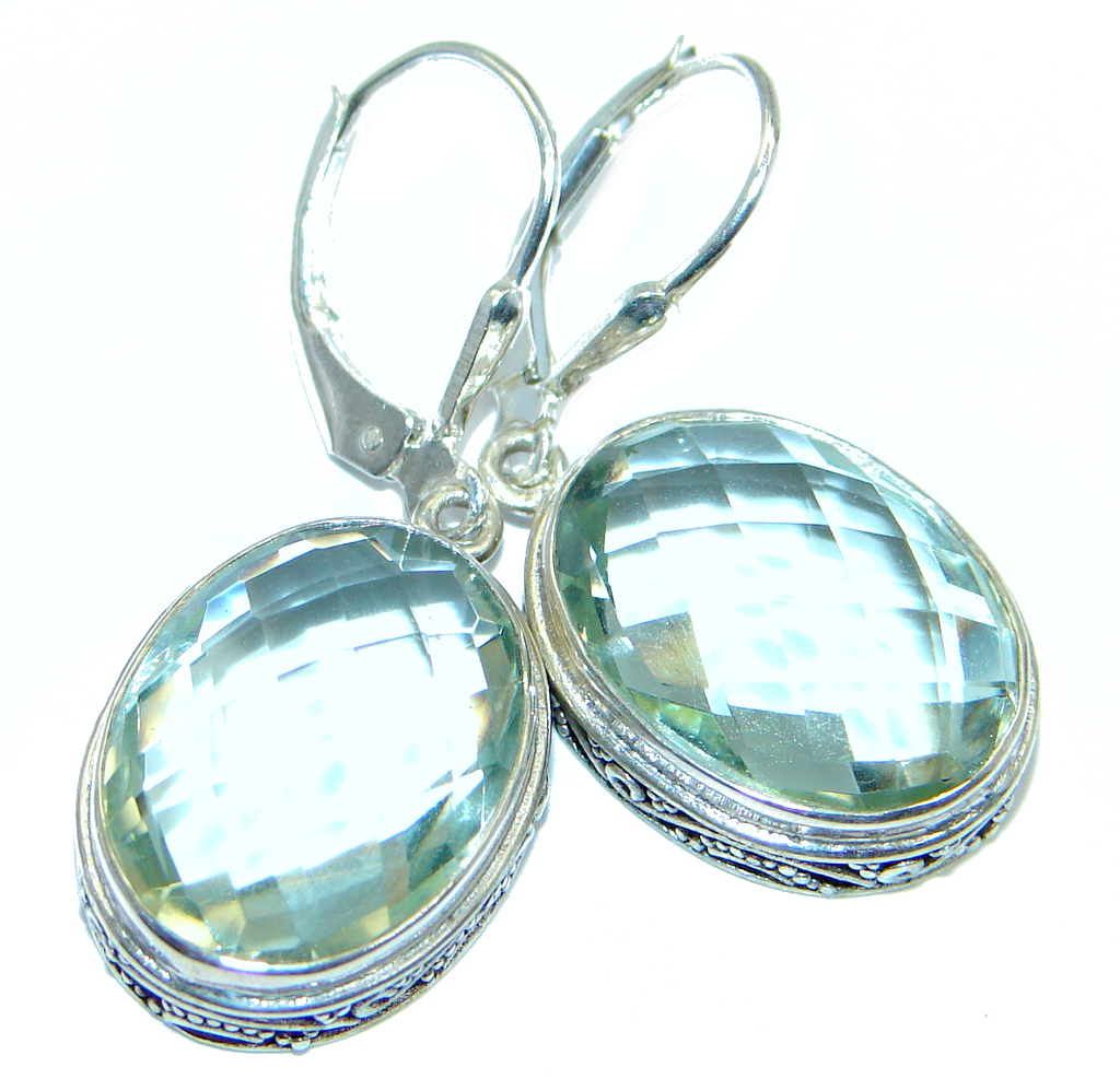 Amazing AUTHENTIC Green Amethyst Sterling Silver handmade earrings