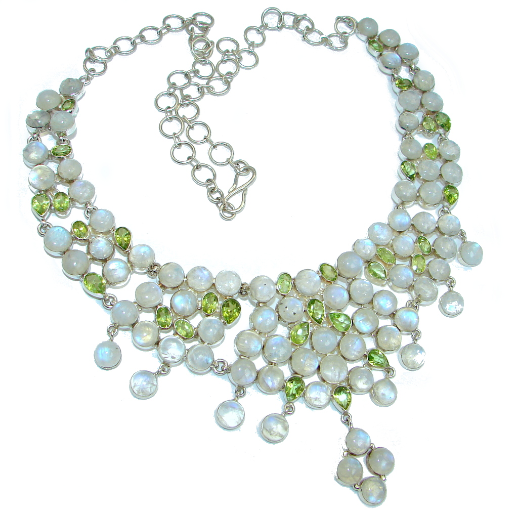 Heavenly White genuine Fire Moonstone Peridot Sterling Silver handcrafted necklace