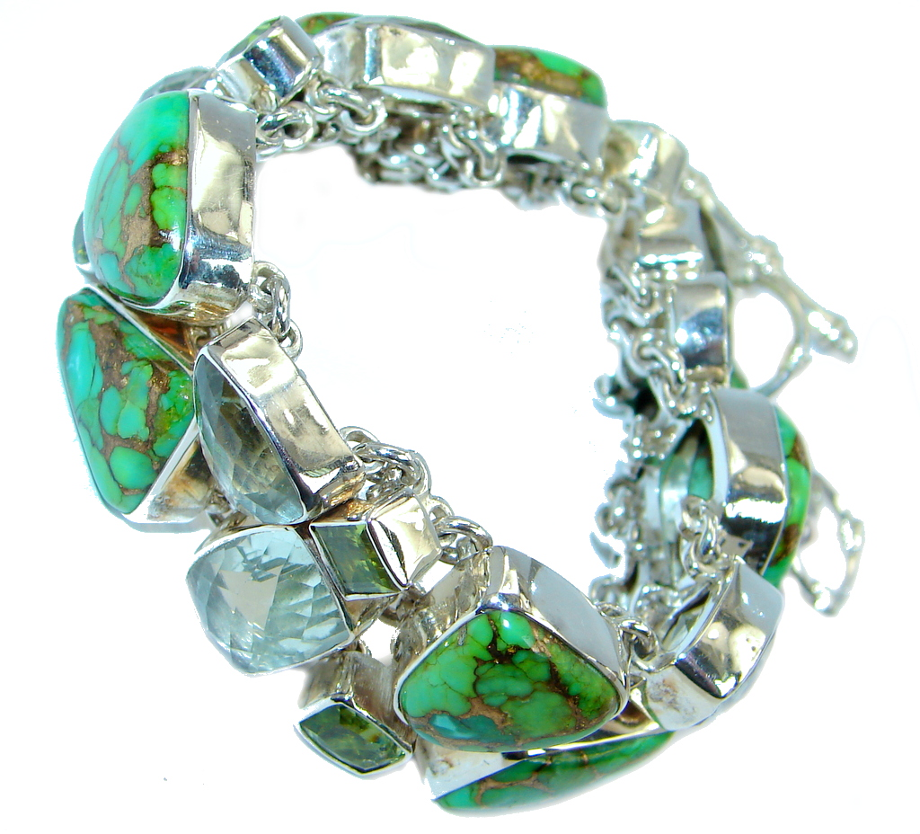Chunky authentic Green Turquoise Peridot Sterling Silver handmade Bracelet