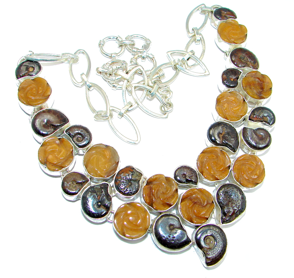 Chunky Ammonite Fossil & Calcite Sterling Silver handmade necklace