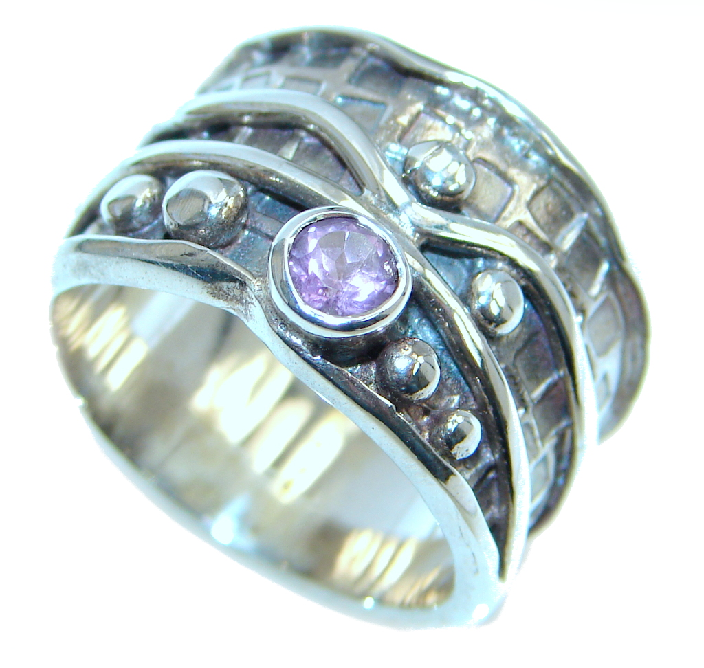 Amazing Natural Amethyst Sterling Silver handmade Ring size 8 3/4