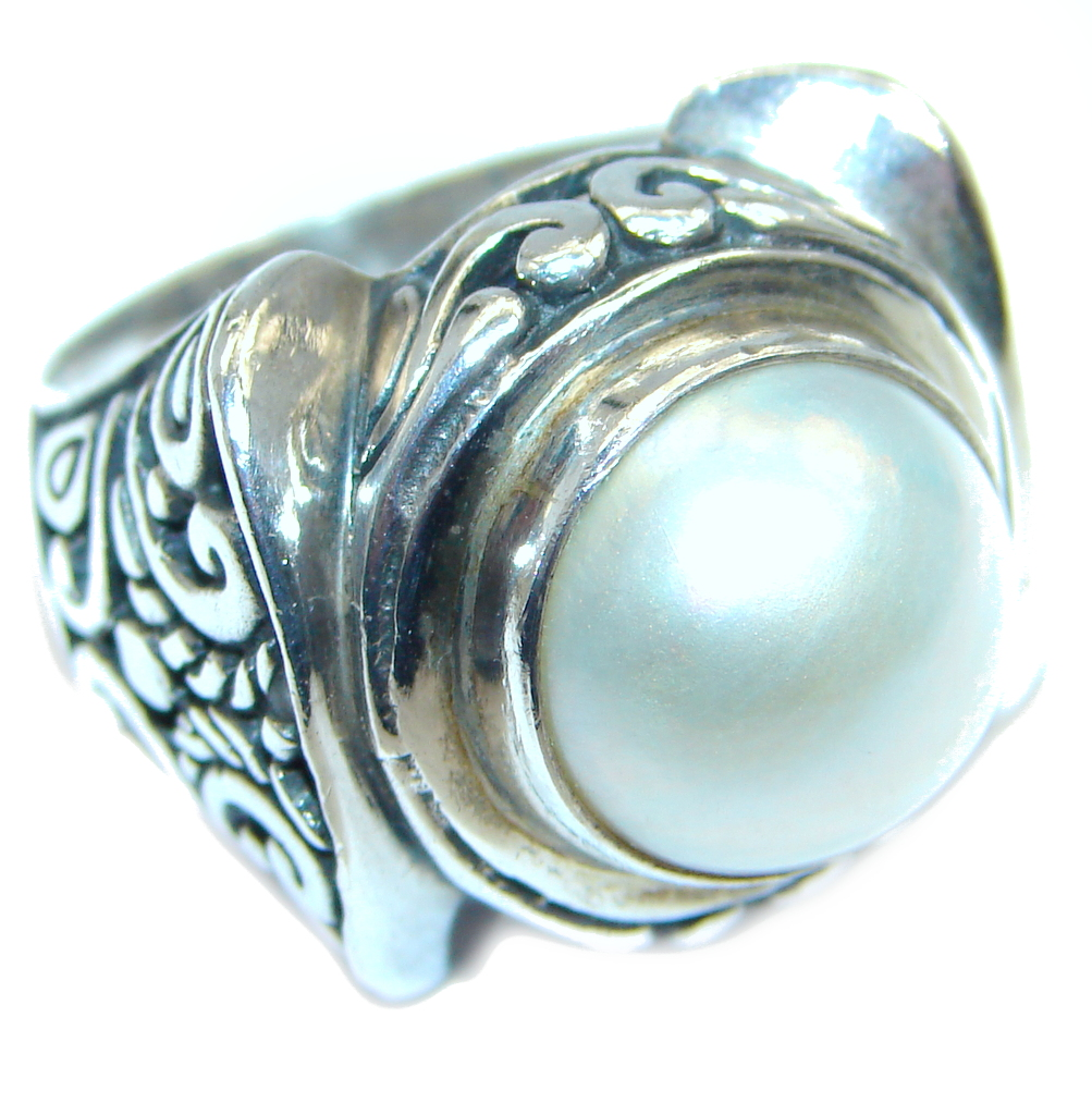 Rich Design Pearl  Bali handmade made Sterling Silver ring s. 6 1/4