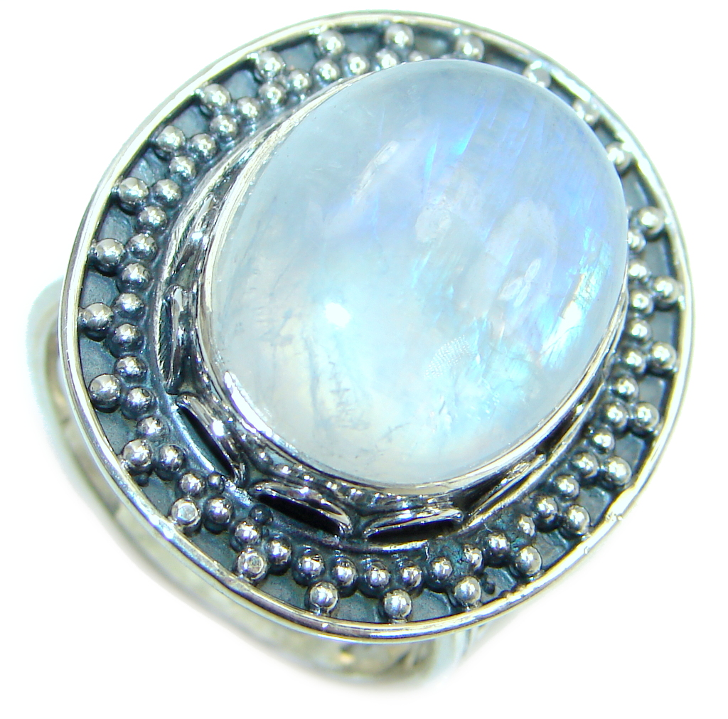 Huge Fire Moonstone Oxidized Sterling Silver handmade ring size adjustable