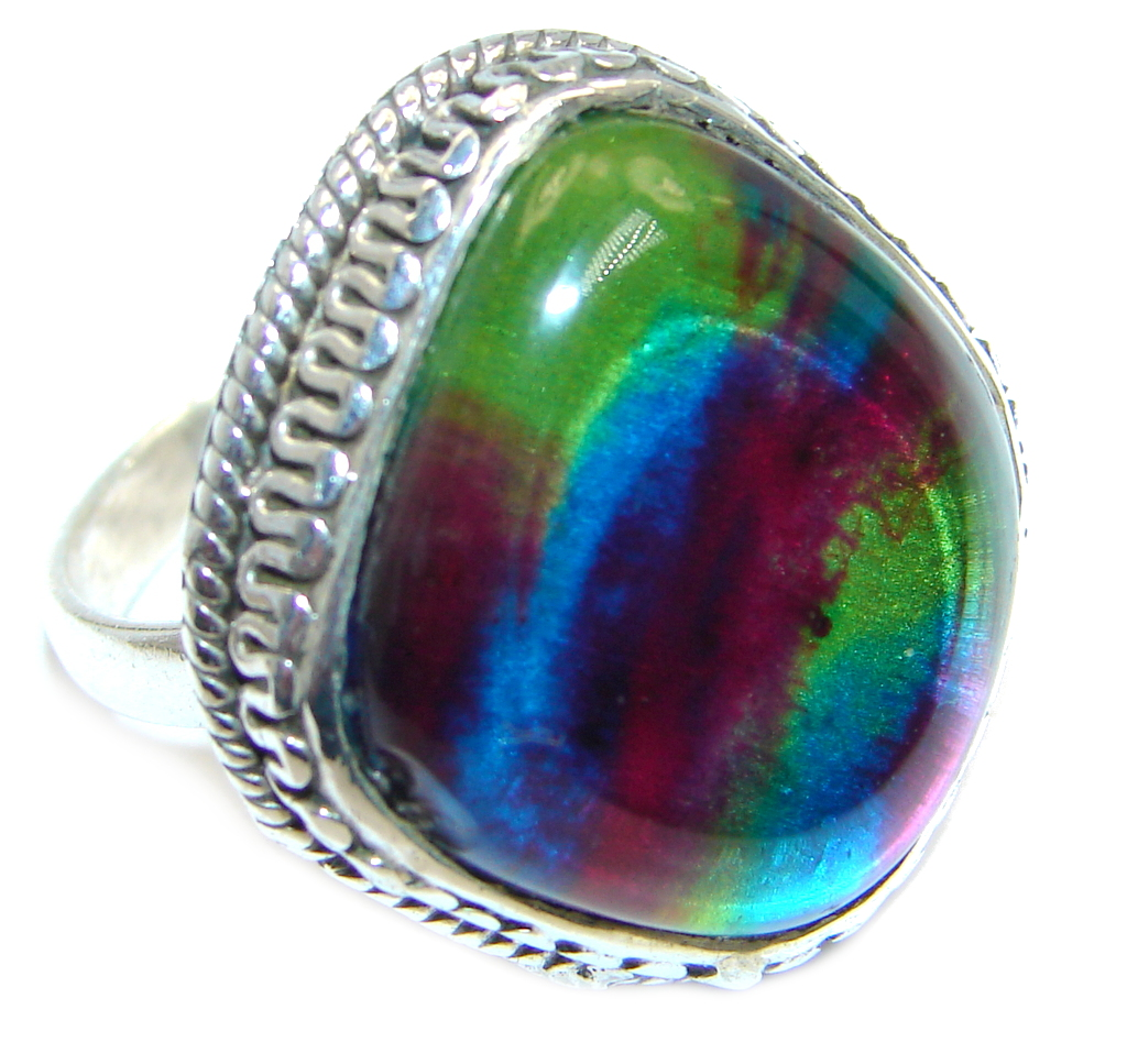 Red Galaxy Dichroic Glass Sterling Silver ring size 7