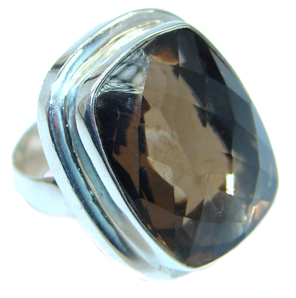 Amazing Natural Smoky Topaz Sterling Silver handmade Ring size 7 1/2