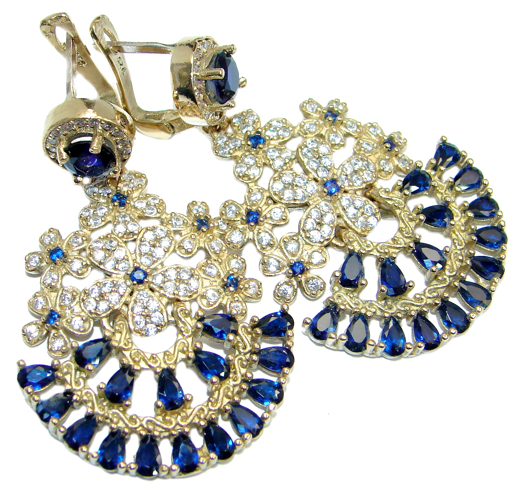 Long Victorian Style created Sapphire & White Topaz Sterling Silver earrings