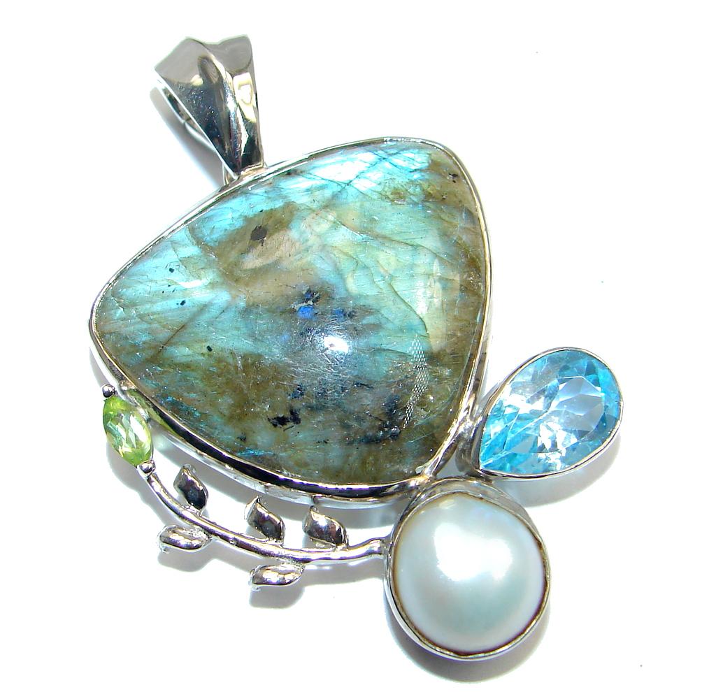 Northern Lights Labradorite Sterling Silver handmade Pendant