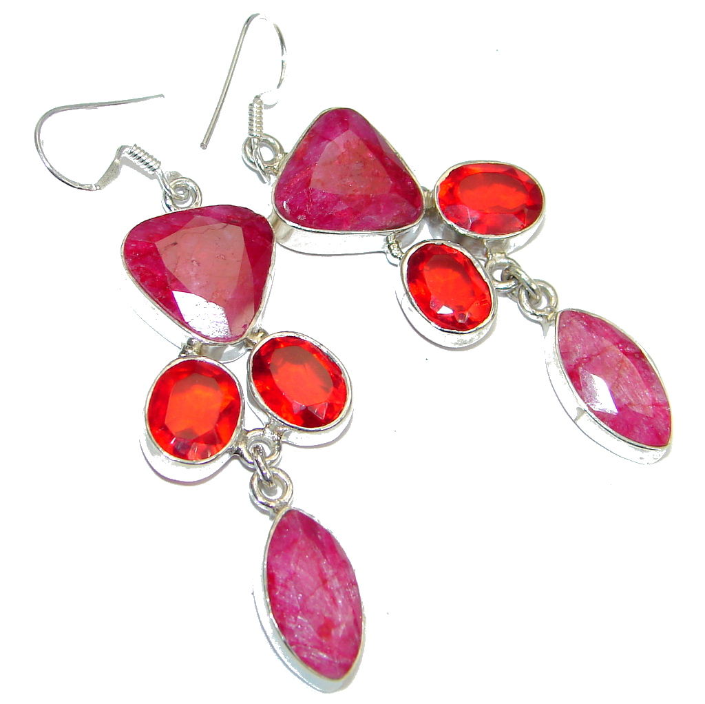 Chunky created Red Ruby Sterling Silver chandelier earrings