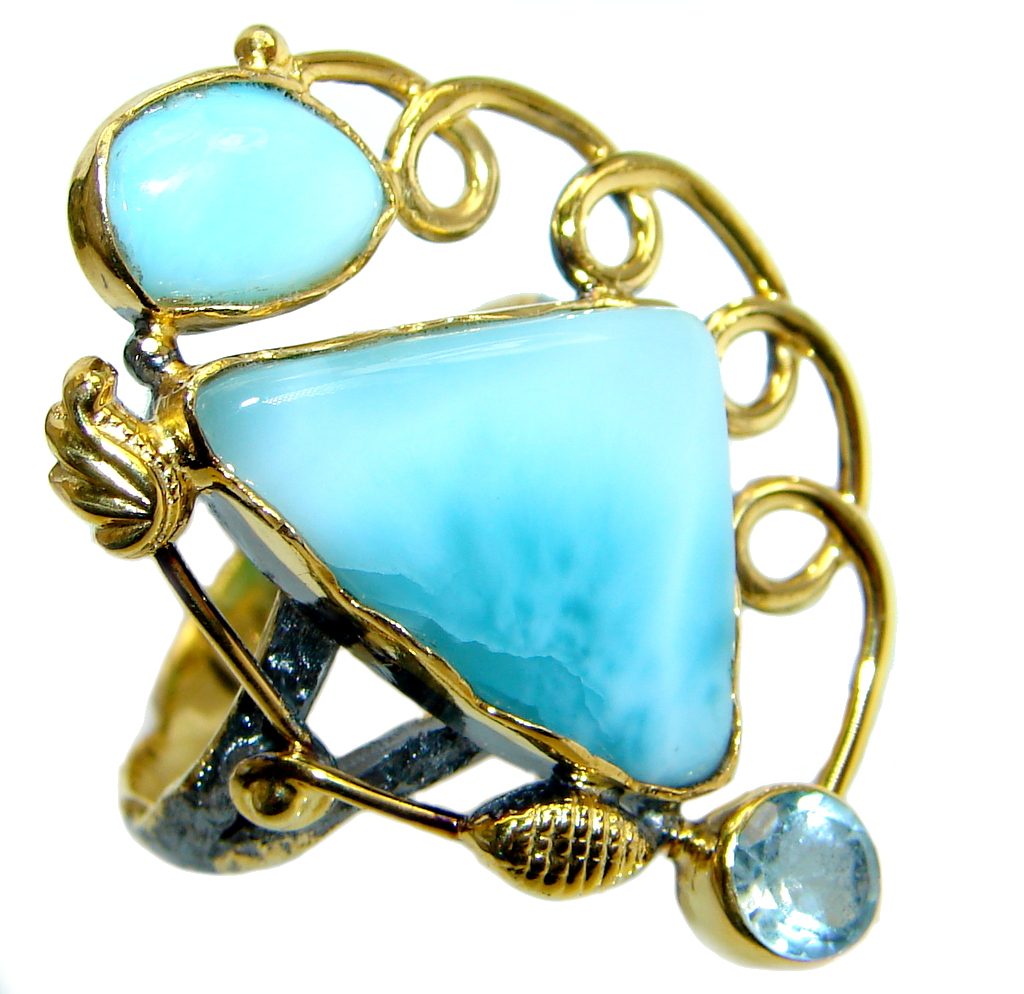 Natural Larimar  Gold Rhodium plated over  Sterling Silver Ring size 9