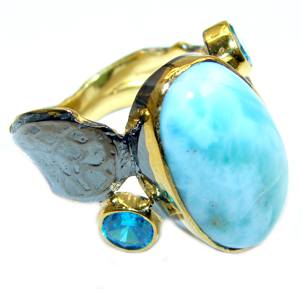 Natural Larimar  Gold Rhodium plated over  Sterling Silver Ring size 8