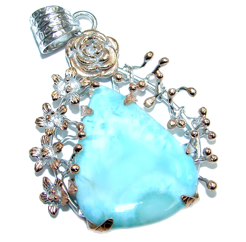 Sublime Larimar  Pearl Rose Gold plated over Sterling Silver handmade  Pendant