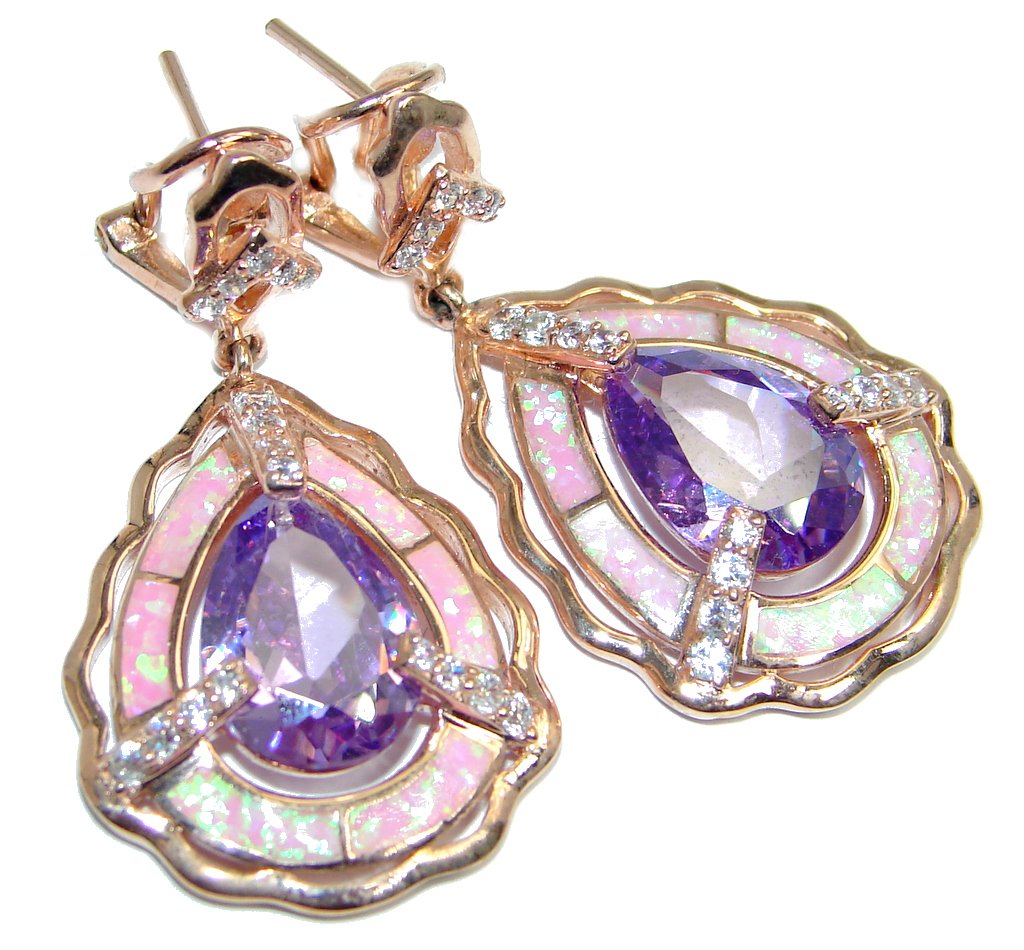 Chunky Cubic Zirconia Fire Opal Rose Gold over Sterling Silver earrings
