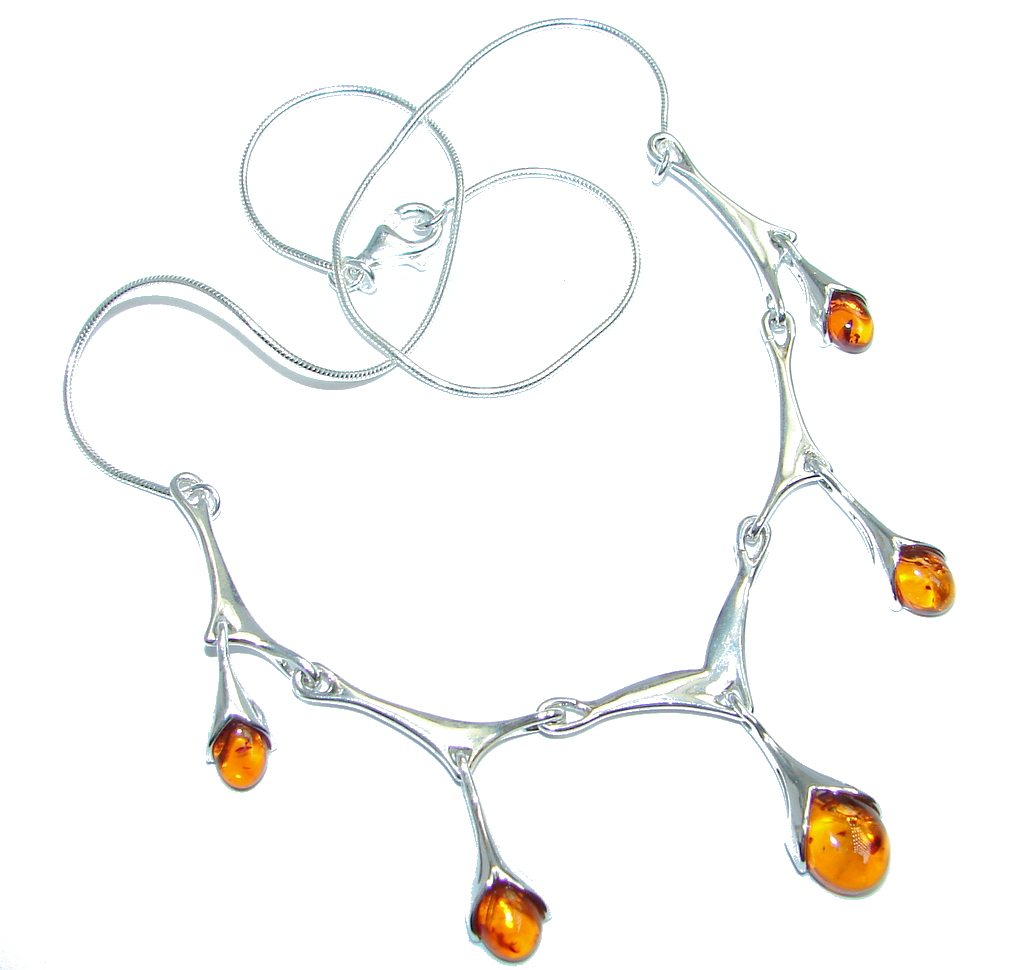 Tears of Time  Baltic Polish Amber Sterling Silver handmade necklace