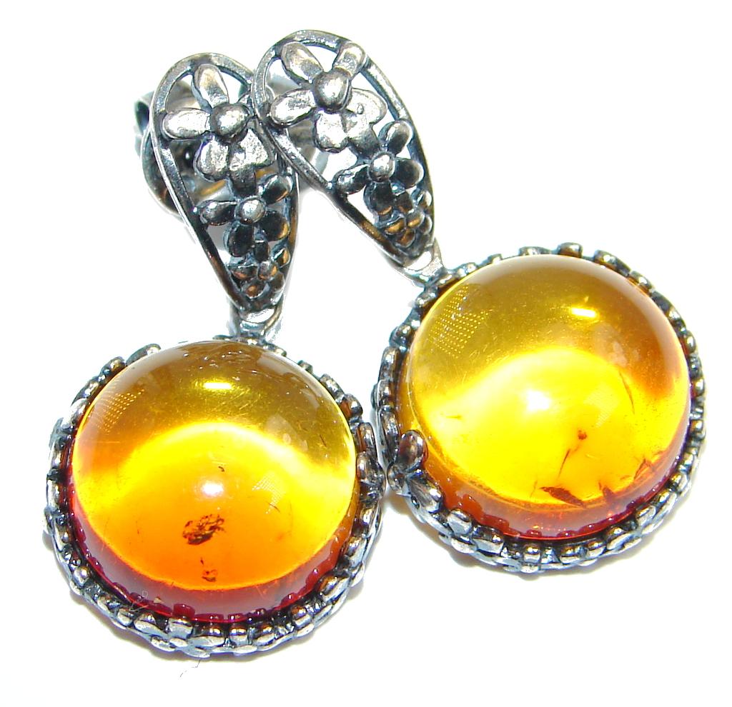 Vintage Design  Polish Amber  Oxidized Sterling Silver handcrafted stud Earr..