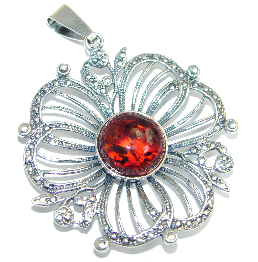 Vintage Style natural Baltic Amber Sterling Silver handmade Pendant