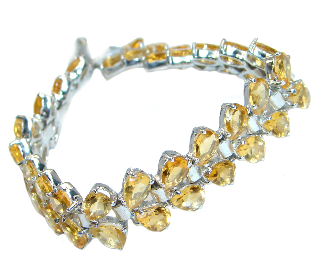 Gorgeous Natural Top Rich Yellow Citrine 925 Sterling Silver Bracelet 7.5 Inches