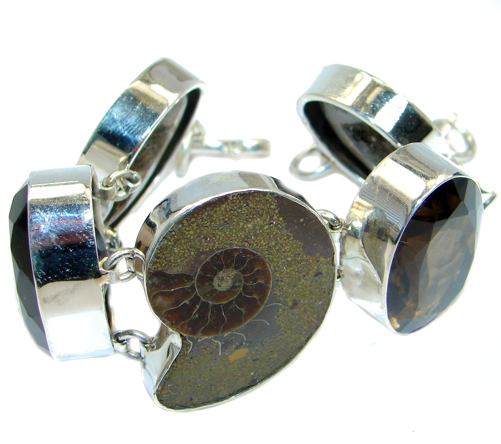 Natural Fossilized Ammonite Smoky Topaz Fossil Sterling Silver handmade Bracelet