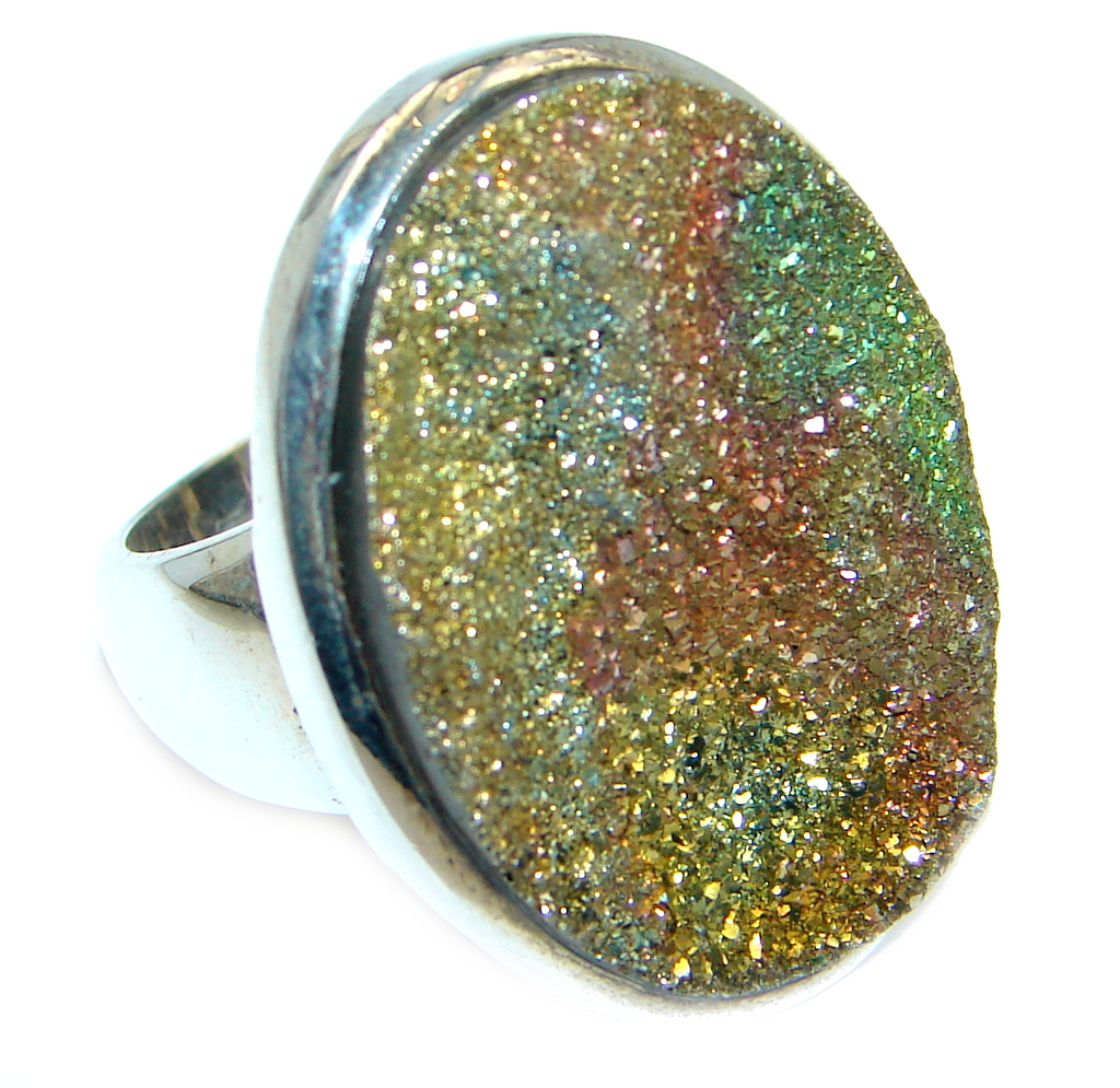 Mysterious Titanum Druzy Sterling Silver handmad  ring s. 7