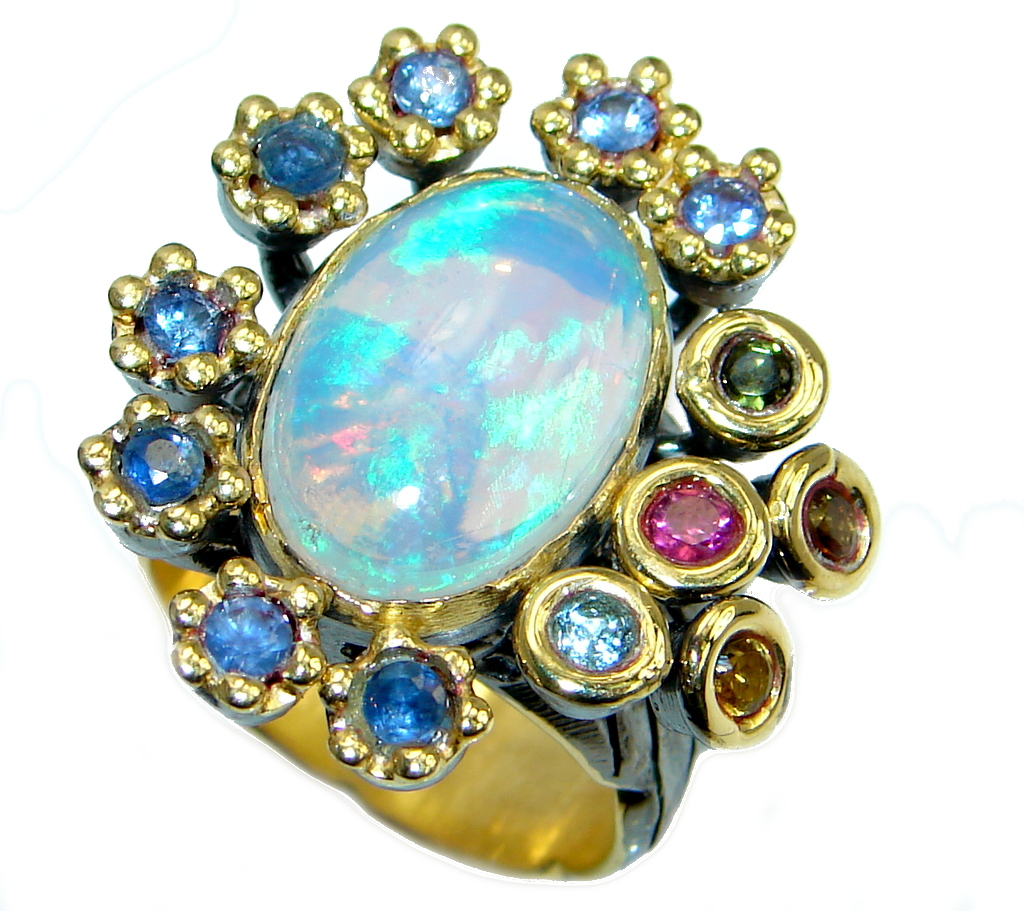 Natural 20.6ct Ethiopian Opal Tourmaline Tanzanite 18ct Gold Rhodium plated over Sterling Silver ring size 8