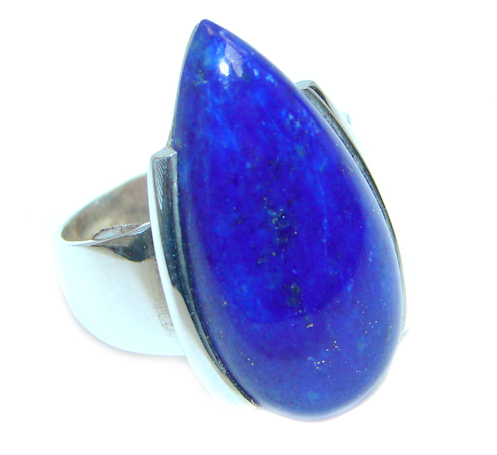 Genuine Lapis Lazuli Sterling Silver handmade Ring size 6 1/2