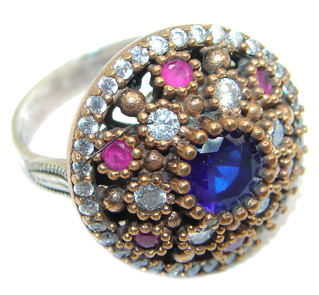Created Blue Sapphire & White topaz Sterling Silver Ring s. 7 3/4