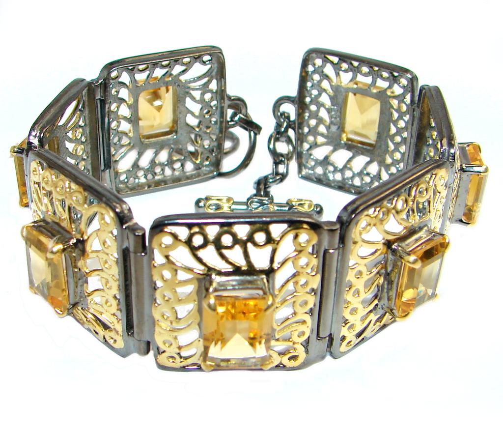 Royal Design Citrine Gold plated over Handcrafted Sterling Silver Bracelet