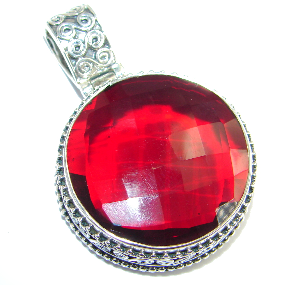Good Energy created Ruby Sterling Silver handcrafted Pendant