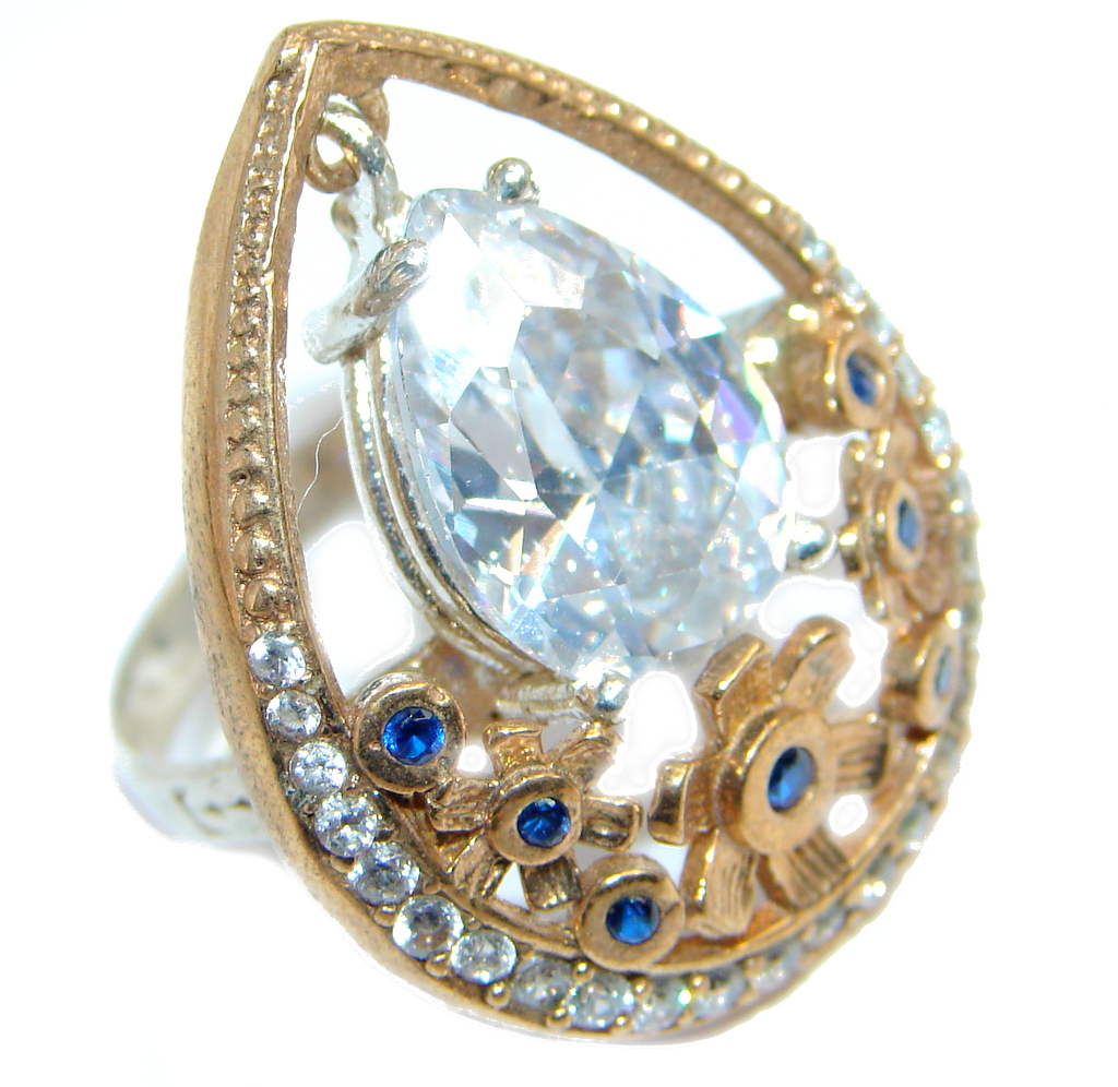 Created Blue Sapphire & White topaz Sterling Silver Ring s. 7 1/4