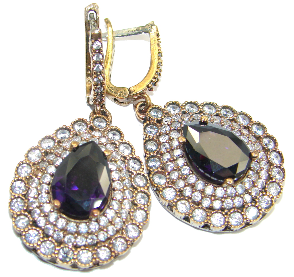 Huge Victorian Style created Sapphire & White Topaz Sterling Silver earrings