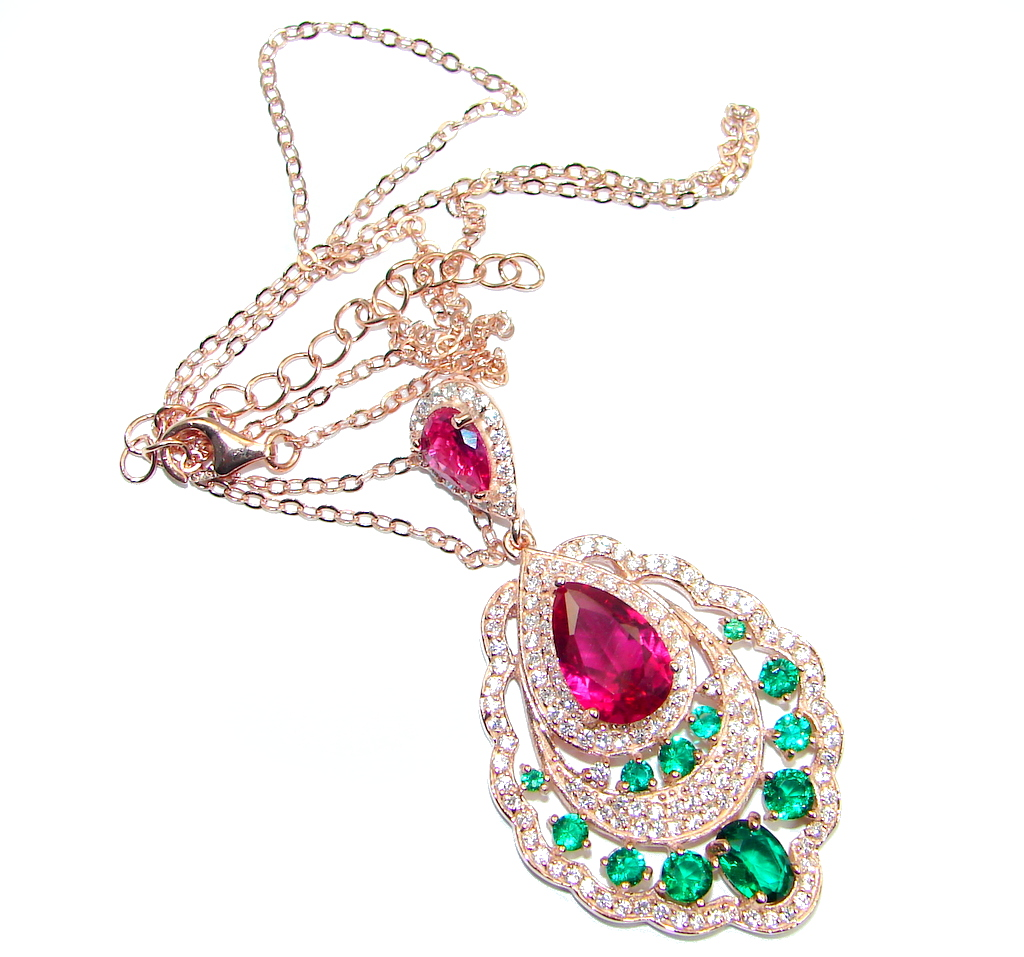 Rare created Ruby Emerald Rose Gold plated over 925 Sterling Silver Necklace