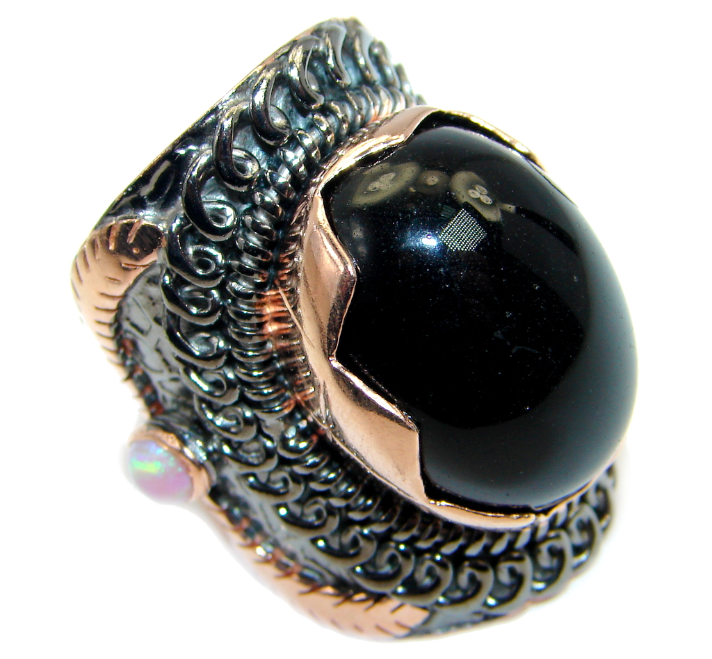 Huge Black Onyx Rose Gold plated over Sterling Silver handmade ring size 6