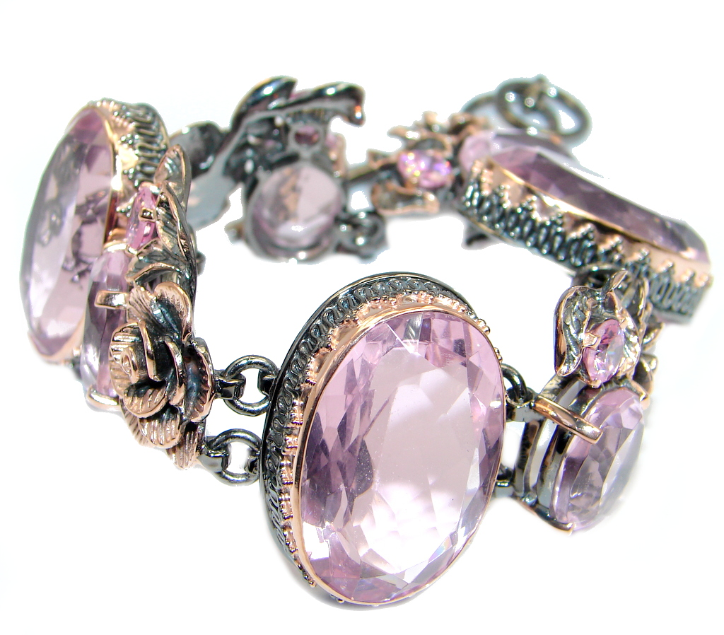 Amazing Chunky Pink Topaz Rose Gold Rhodium plated over Sterling Silver Bracelet