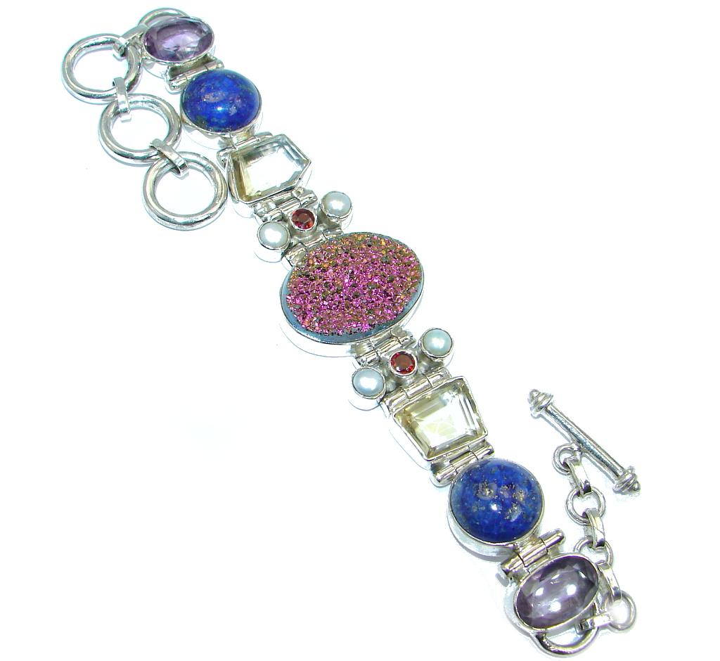 Exclusive Design Titanum Druzy Pearl Lapis Lazuli Sterling Silver Bracelet