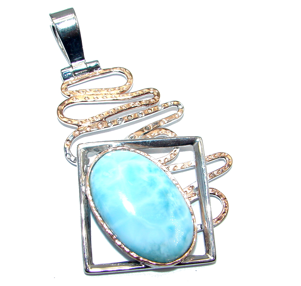 Fantasy Larimar  Rose Gold plated over Sterling Silver handmade  Pendant