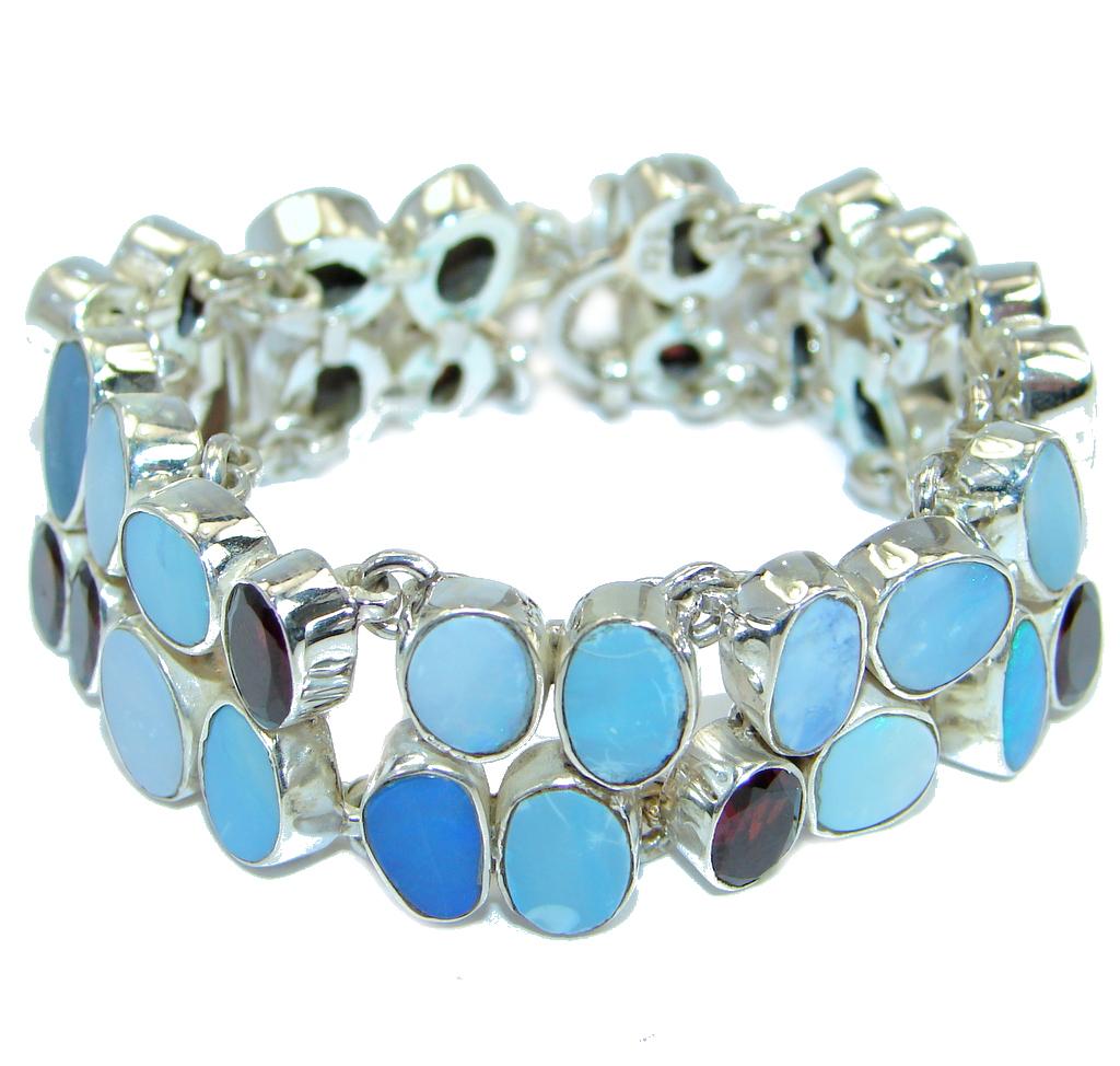 Wonderful Natural Fire Opal Garnet Sterling Silver handcrafted Bracelet