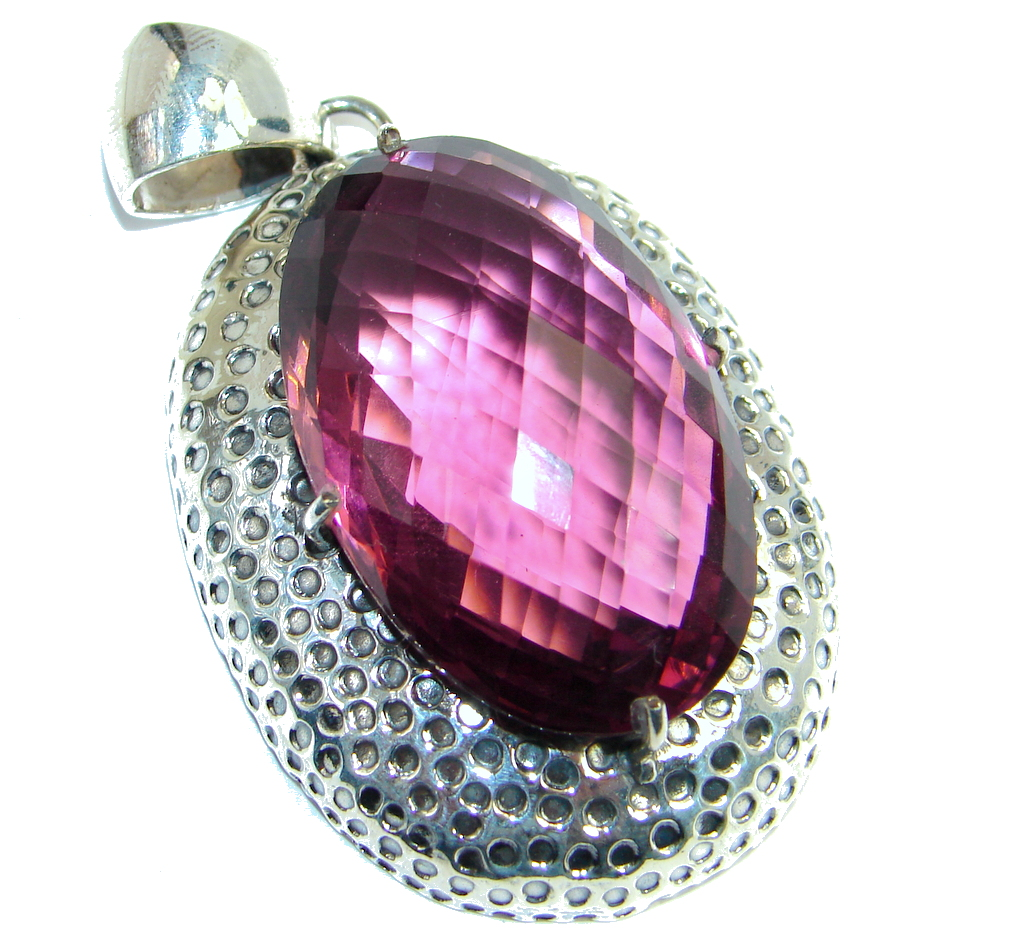 Amazing created Pink Sapphire color Quartz Sterling Silver Pendant