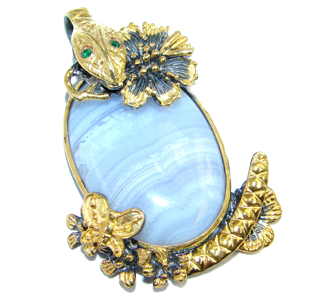 Snake Light Blue Lace Agate Emerald Gold plated over Sterling Silver Pendant