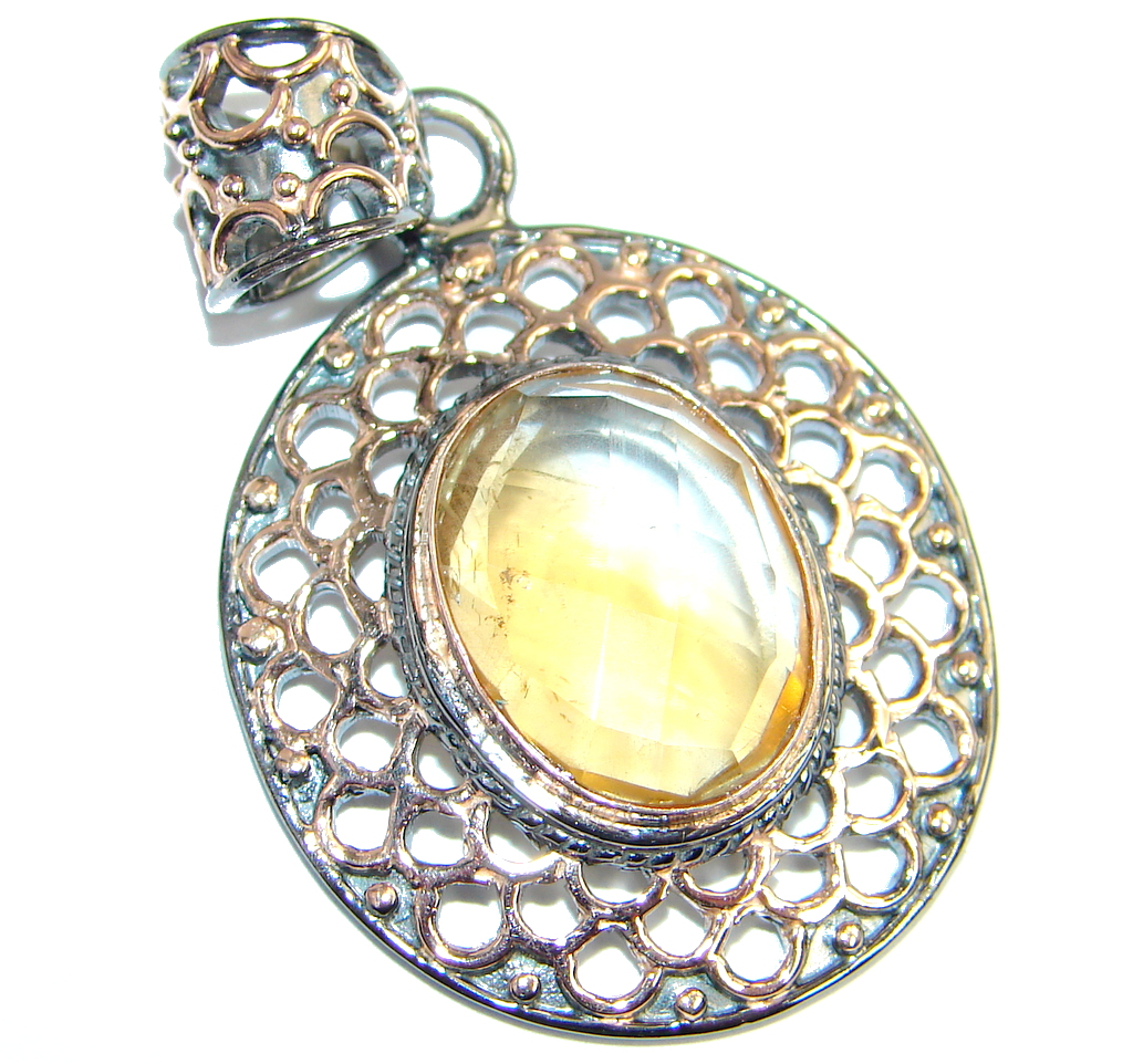 Great Citrine Rose  Gold plated over Sterling Silver handmade  Pendant
