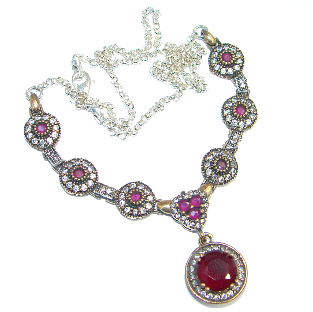Victorian created Ruby Emerald & White Topaz Sterling Silver necklace