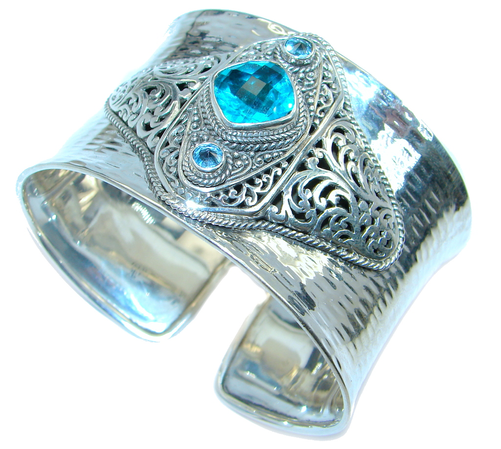 Chunky Luxury Aqua Magic Topaz Sterling Silver handmade Cuff/Bracelet