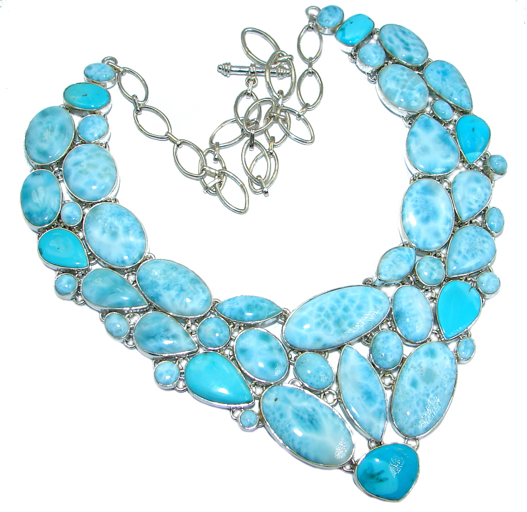 Chunky Larimar Sleeping Beauty Turquoise Sterling Silver handcrafted necklace