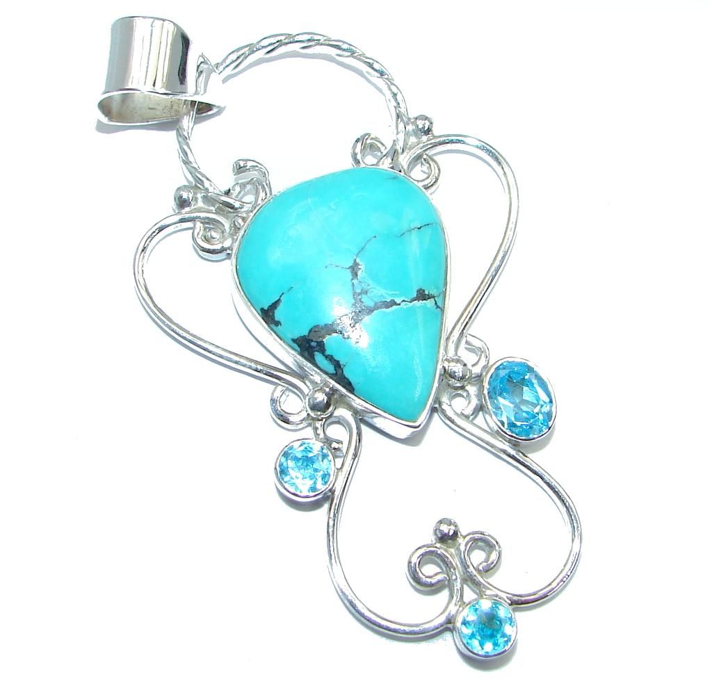 Genuine Swiss Blue Topaz Turquoise Sterling Silver handmade Pendant