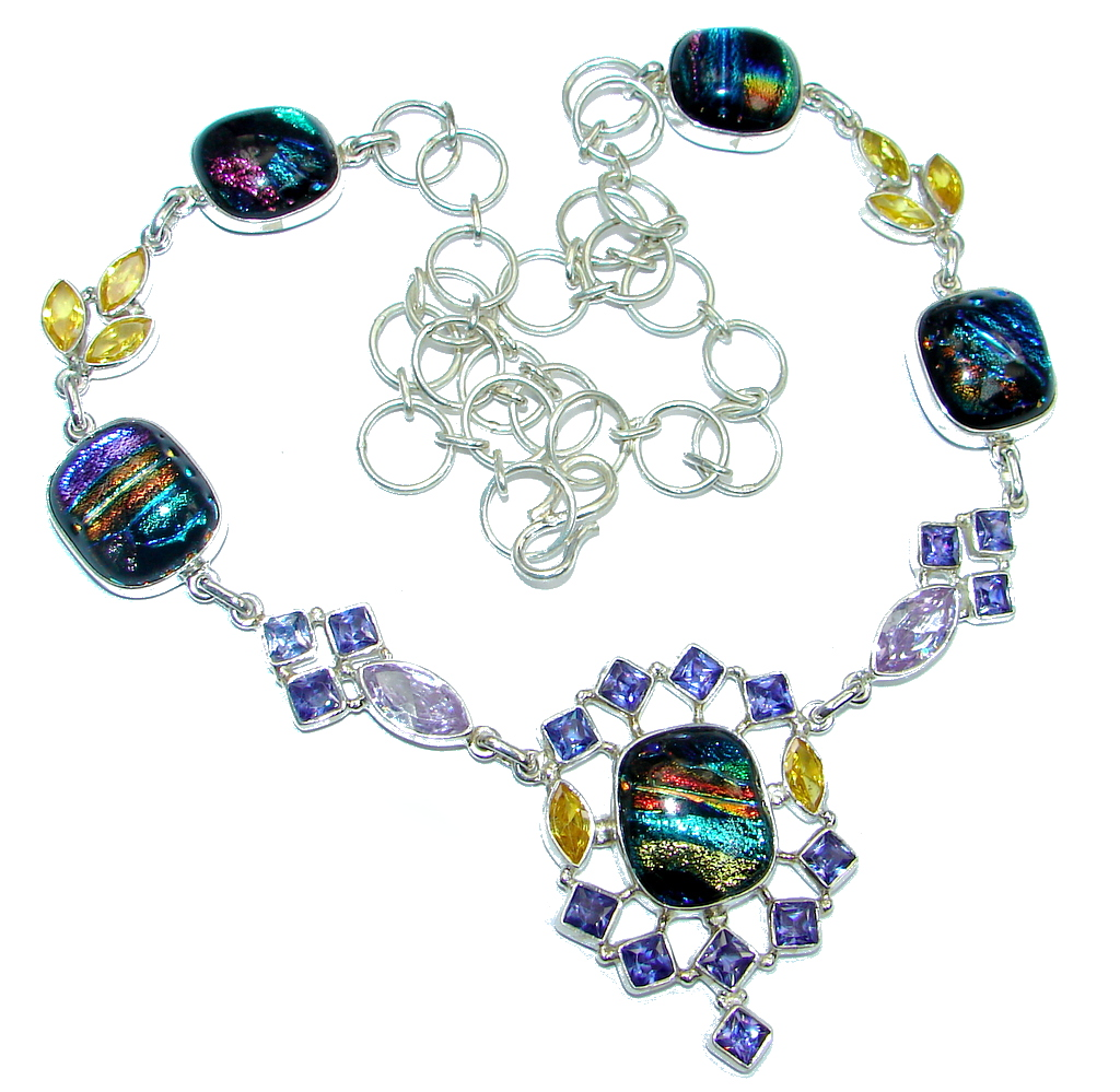 Mystical Eye Rainbow Dichroic Glass Sterling Silver handmade necklace