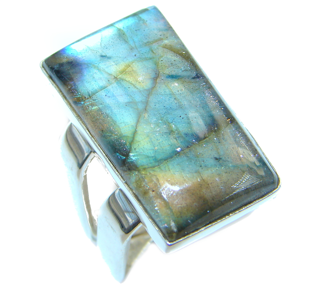 Big Blue Aura Fire Labradorite Sterling Silver ring size 7