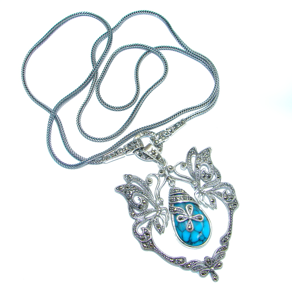 marcassite.com view the photo of  Gorgeous Natural Blue Turquoise Marcasite 925 Sterling Silver 24 inch Necklace