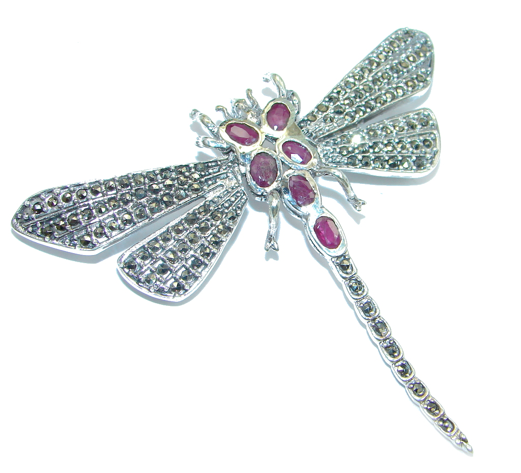 Huge Dragonfly Red Ruby Marcasite 925 Sterling Silver Big Brooch