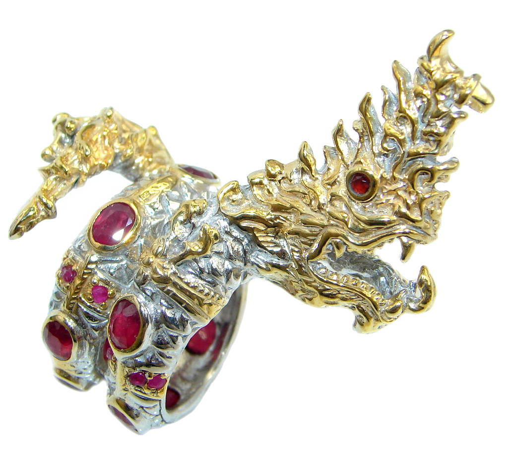 Jumbo 35.7 grams Top Blood Red Ruby Two Tones 925 Sterling Silver Thai Dragon Ring s. 8